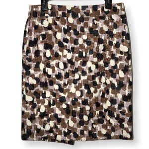 J Crew Brown Pink Black Cream Print Pencil Skirt